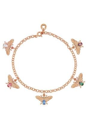 Valori Jewels Şanslı Arı, Çoklu Swarovski Zirkon Renkli Taşlı, Rose Gümüş Bileklik
