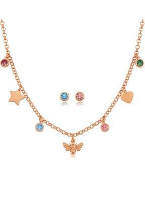 Valori Jewels Yıldız Kalp Arı, Swarovski Zirkon Renkli Taşlı, Rose Gümüş Set