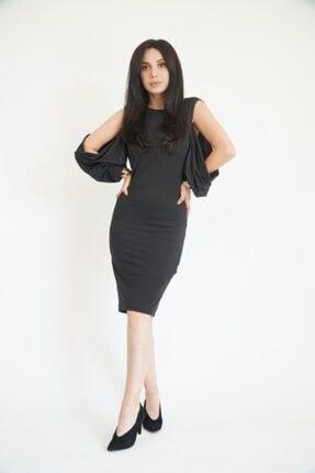 Lila Rose Kadın Siyah Kol Yırtmaçlı Midi Elbise