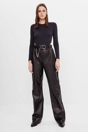 Bershka Kadın Siyah Geniş Paça Suni Deri Pantolon