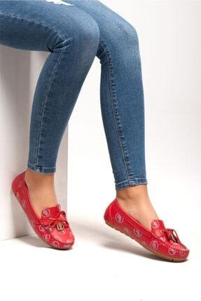 Ferre Kadın Kırmızı Renk Hakiki Deri Babet