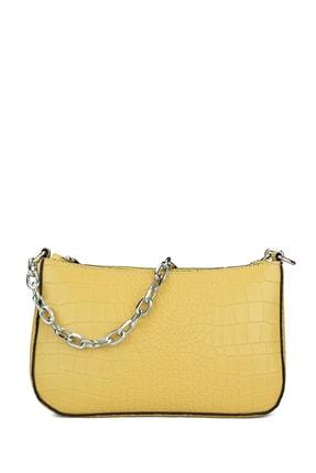 Housebags Kadın Sarı Timsah Derisi Görünümlü Baguette Omuz Çantası 192