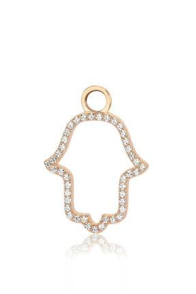 Valori Jewels Zarif Fatma Ana Eli, Swarovski Zirkon Beyaz Taşlı, Rose Gümüş Küpe Charmı