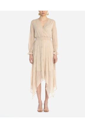 Ayhan Kadın Bej Uzun Kollu Çiçek Desenli Elbise
