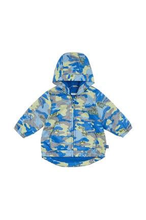 Benetton Unisex Bebek Mavi Desenli Yağmurluk