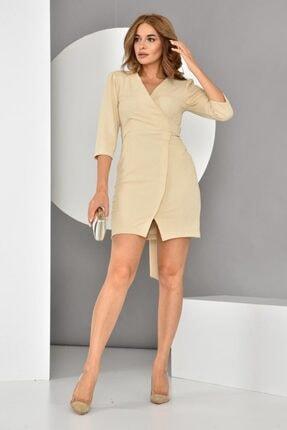 İroni Kadın Kruvaze Örme Taş Mini Elbise