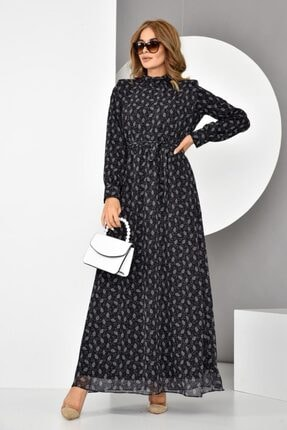 İroni Kadın Siyah Kemerli Desenli Uzun Şifon Elbise