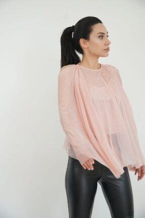 Lila Rose Kadın Pudra Pelerin Simli Bluz