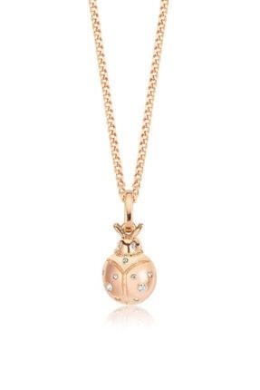 Valori Jewels Uğur Böceği, Swarovski Zirkon Beyaz Taşlı, Rose Gümüş Kolye