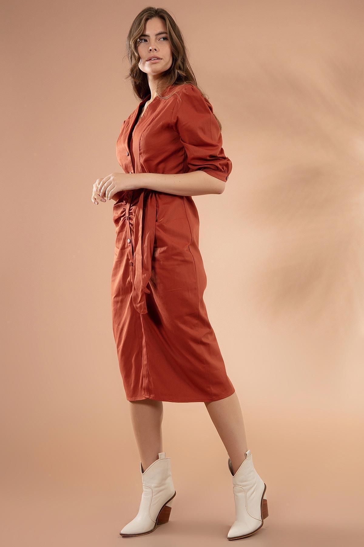 Y-London Kadın Kiremit Drapeli Kuşaklı Midi Elbise Y20W180-6516