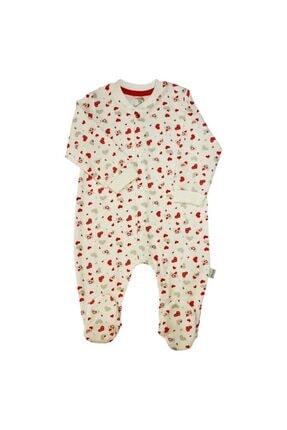 Bebengo Çiçekli Bebek Tulumu - Patikli - Ekru - 62 Cm