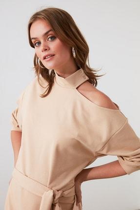 TrendyolMilla Camel Kuşaklı Omuz Detaylı Örme Elbise TWOAW21EL1718