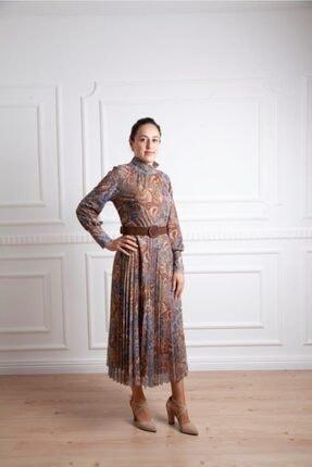 Seçil 3585 Şal Desen Kemer Detaylı Elbise