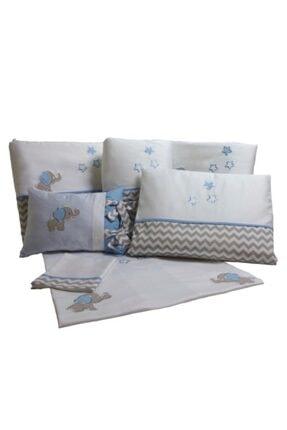 Küçük Fil Mavi Gri Zigzaglı Bebek Uyku Seti 80x140 cm PUSFIMAZ80140