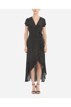 Ayhan Kadın Siyah Anvelop Puanlı Elbise
