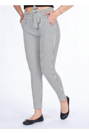 Vision Kadın Beyaz Çizgili Pantolon