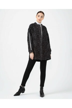 Seçil Kadın Siyah Kolları Şeritli Desenli Ceket 05083