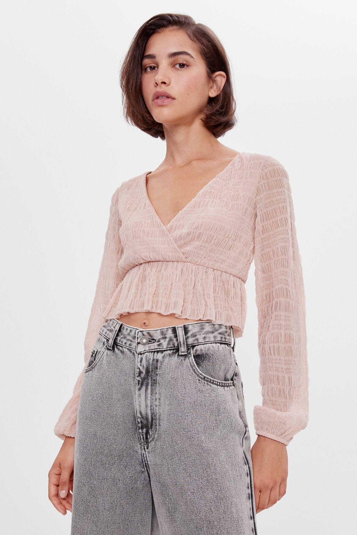 Bershka Kadın Pembe Tül T-Shirt 07366187