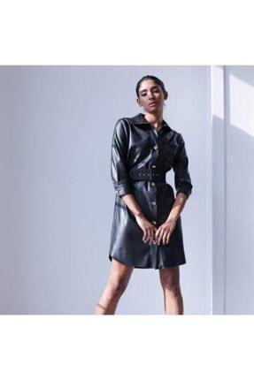 Ayhan Kadın Siyah Kemerli Deri Elbise