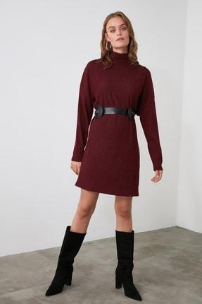 TrendyolMilla Bordo Boğazlı Örme Elbise TWOAW21EL1949
