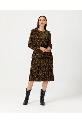 Seçil Kadın Kahverengi Uzun Kollu Desenli Elbise