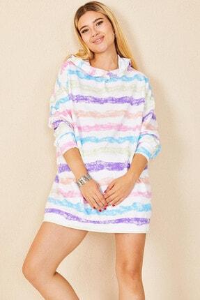 Morpile Kadın Beyaz Kapüşonlu Oversize Sweatshirt