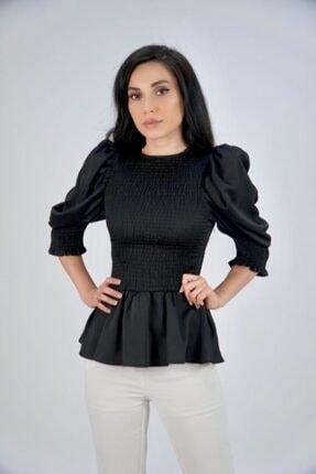 Lila Rose Kadın Siyah Gipeli Ipek Saten Bluz