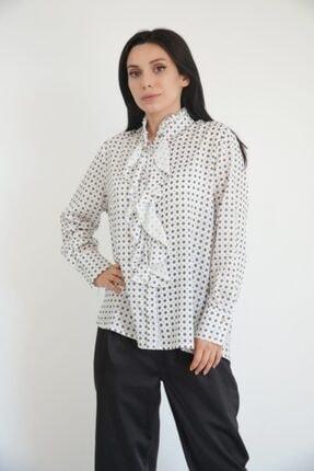 Lila Rose Kadın Beyaz Yaka Fırfırlı Desenli Gömlek