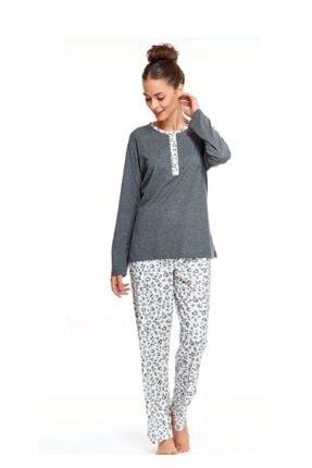Çift Kaplan Kadın Gri Leopar Pijama Takımı