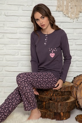 Elitol Kadın Mürdüm  Pamuklu Likrali Pijama Takim