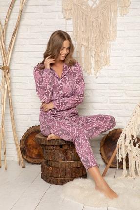 Elitol Kadın Desenli Pamuklu Düğmeli Pijama Takim