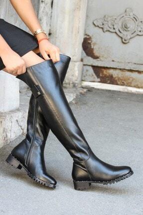 Fast Step Hakiki Deri Siyah Kadın Diz Üstü Çizme 064yza621