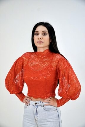 Lila Rose Kadın Kırmızı Balon Kol Dantel Bluz