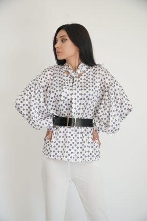 Lila Rose Kadın Beyaz Balon Kol Kemerli Saten Bluz