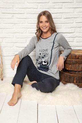 Elitol Kadın Lacivert Pamuklu Likrali Pijama Takim