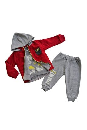 Donino Baby Erkek Çocuk Kırmızı Kışlık Yağmurluk Montlu Takım 3'lü