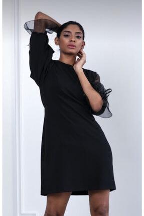 Ayhan Kadın Siyah Kolu Tül Detaylı Elbise