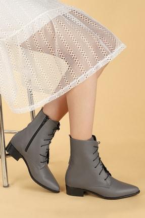 Ayakland Kadın Gri Cilt Bağcıklı Termo Taban Bot Ayakkabı 007-01