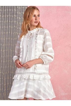 Nocturne Kadın Ekru Volanlı Brode Mini Elbise N20Y-2217-0014