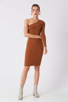 Robin Kadın Taba Tek Omuzlu Triko Elbise