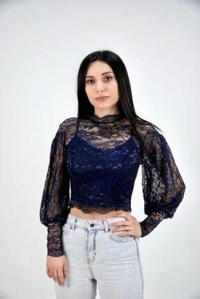 Lila Rose Kadın Lacivert Balon Kol Dantel Bluz