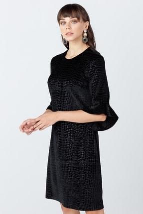 Ekol Kadın Siyah Kol Volanlı Düz Kesim Elbise 01075