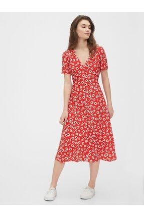 Gap Kadın Kırmızı Çiçek Desenli Midi Elbise 541548