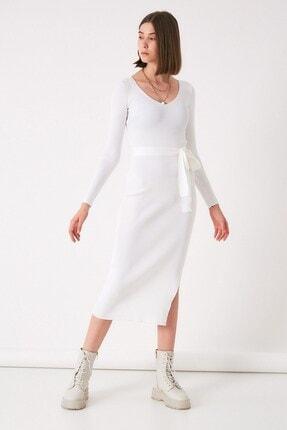 Robin Kadın Beyaz V Yaka Yırtmaçlı Triko Elbise
