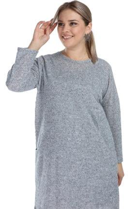ANGELINO Kadın Gri Genç Büyük Beden Kışlık Yumoş Elbise