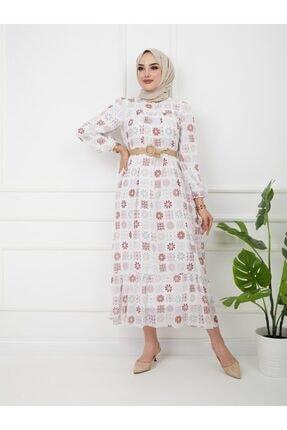 Olcay Kadın  Ekru Robası Ve Eteği Büzgülü Hasır Kemerli Elbise 9795-e