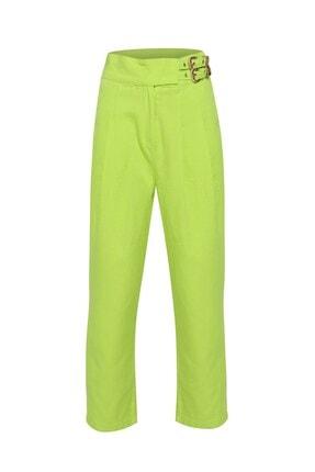 Quzu Tokalı Gabardin Yüksek Bel Pantolon Açık Yeşil