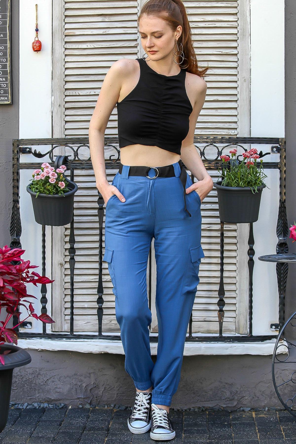 Chiccy Kadın Mavi Kemerli Kargo Cepli Paçası Lastikli Dokuma Pantolon M10060000Pn98777