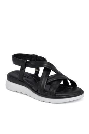 Tergan Siyah Deri Kadın Sandalet 65691a23