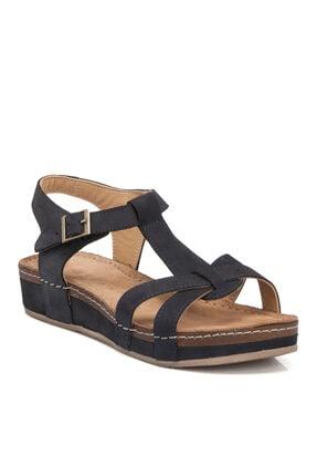 Tergan Lacivert Nubuk Deri Kadın Sandalet 65540c39